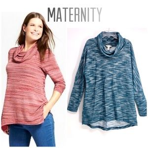 Maternity MaCherie cowl neck sweater Turquoise M